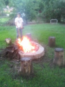 Chris making the fire