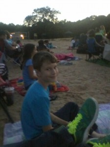 James at Lego Batman on the beach